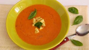 Supa crema de linte cu rosii si tofu